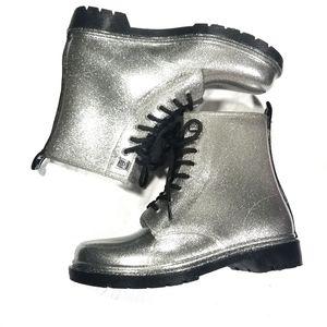 Michael Kors Tavie Logo Tape Glitter Rain Boots 8